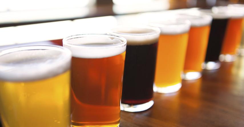 flight of craft beers