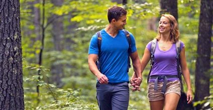 couple hiking in Bath County