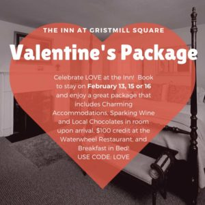 Inn at Gristmill Square Valentine's Day Package