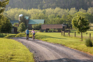 biking at Fort Lewis Farm