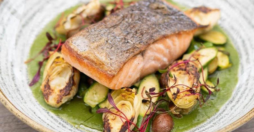 Salmon and Brussels Sprouts courtesy of Garden Room Cafe