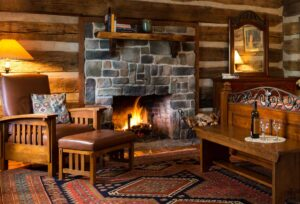 roaring fire at Fort Lewis Lodge cabin