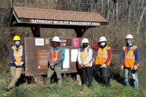 trail clean up crew at Gathright Wildlife Management Area