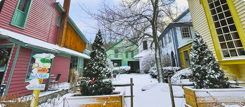 Winter at The Inn at Gristmill Square and Waterwheel Restaurant