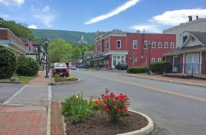 Main Street in Hot Springs with view of the Homestead Tower